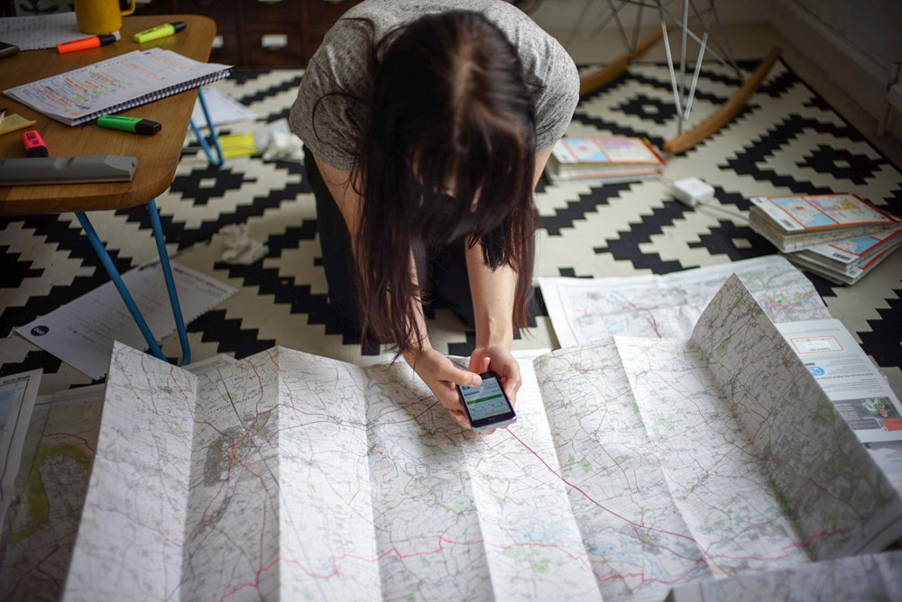 Emily planning route, wild camps, water supplies and swimming