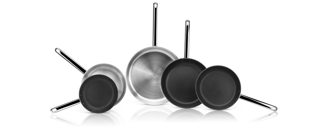 Multi metal frying pans for induction
