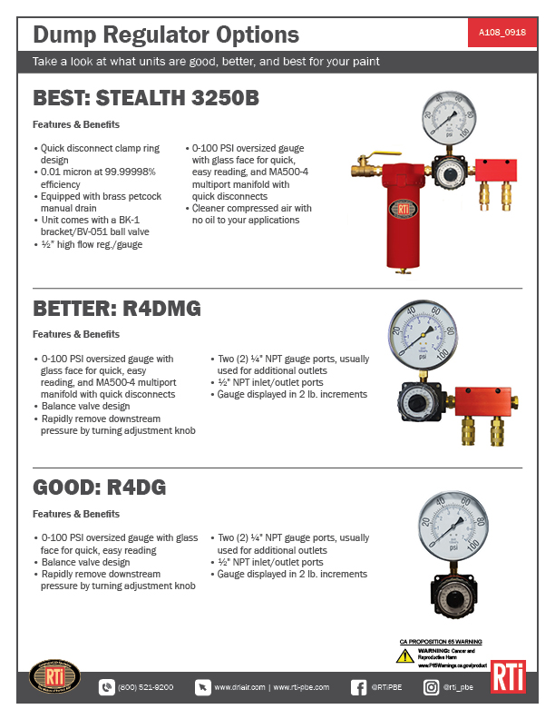 A108 Dump Regulator Options