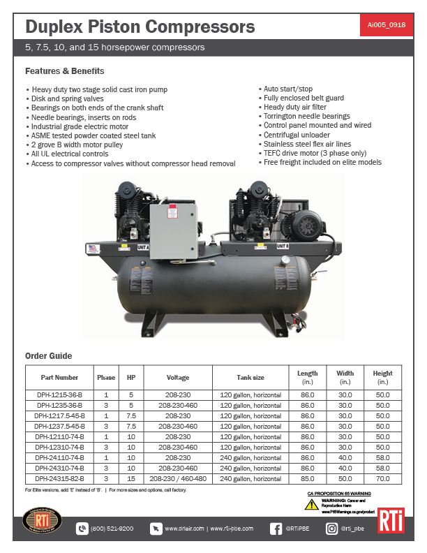 Ai005 Duplex Piston Compressors