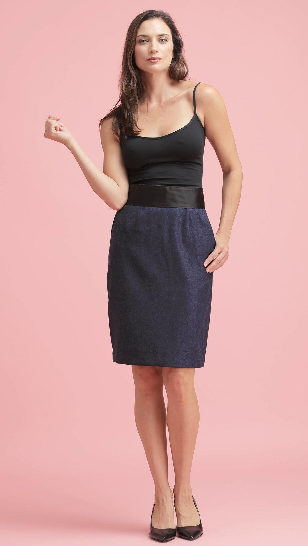 The Italian Wool Skirt (in Blue)