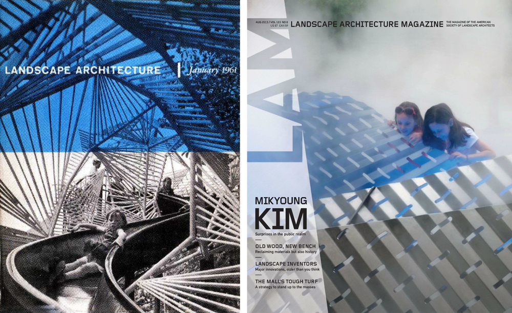 Landscape Architecture Magazine, January 1961 (left) and August 2013 (right) © American Society of Landscape Architects