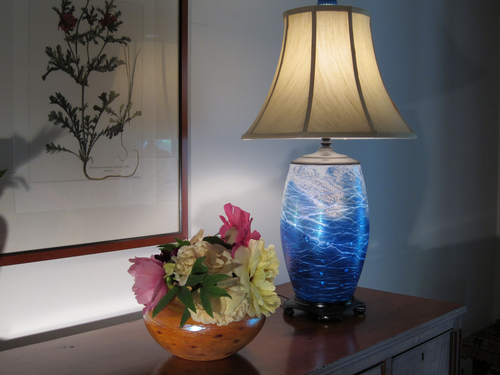 Low vase w/ tree peonies & cylinder lamp