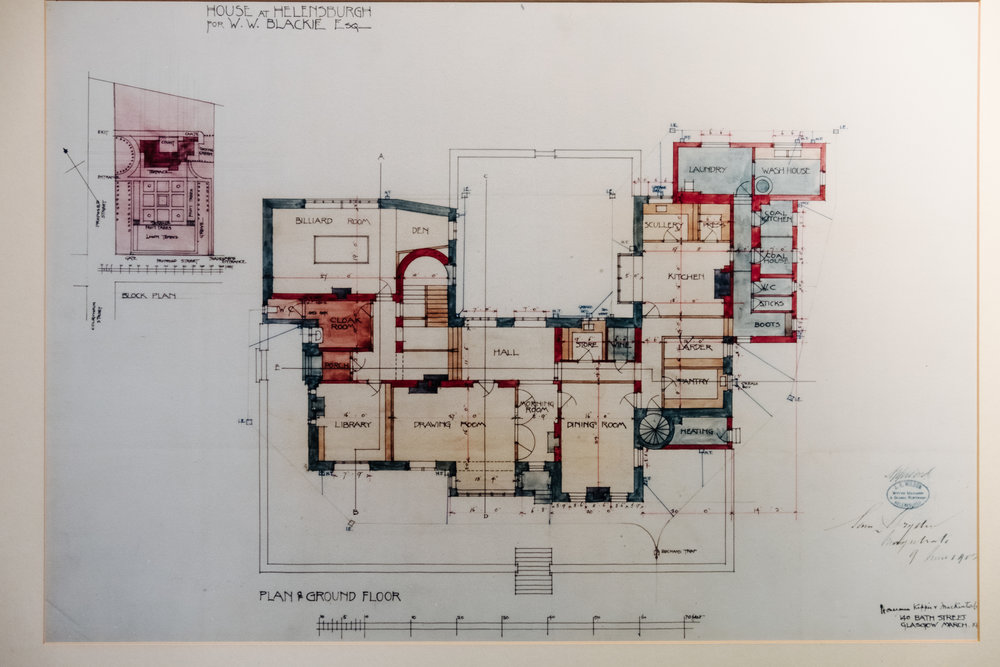 Hand-drawn ground floor plan of the Hill House