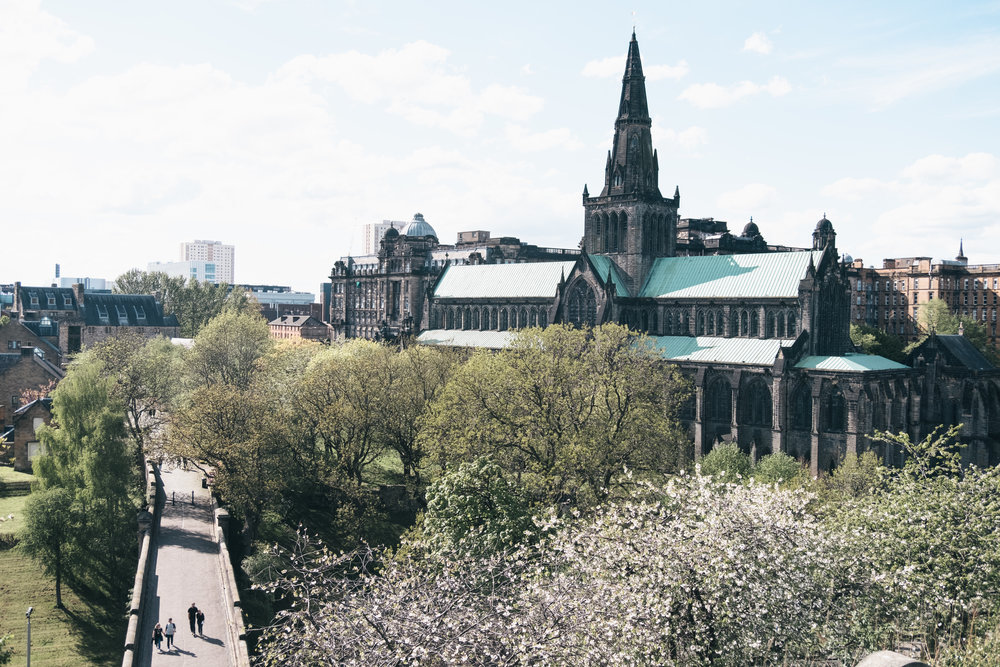 the view over Glasgow Cathedral from the Necropoli . Marked [9] on the guide