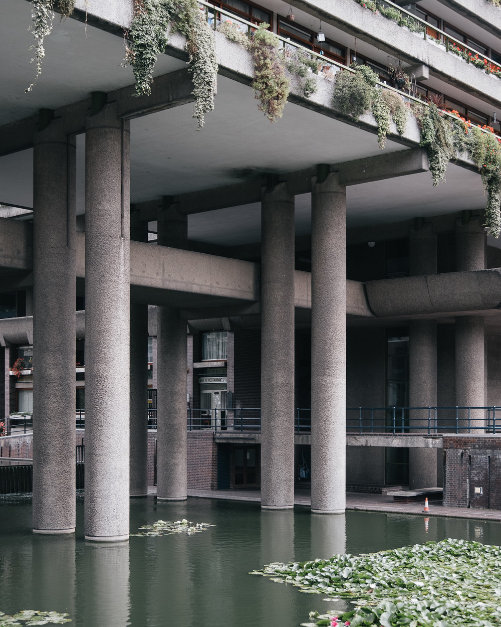 The Barbican lake contains water lilies and other aquatic plants.