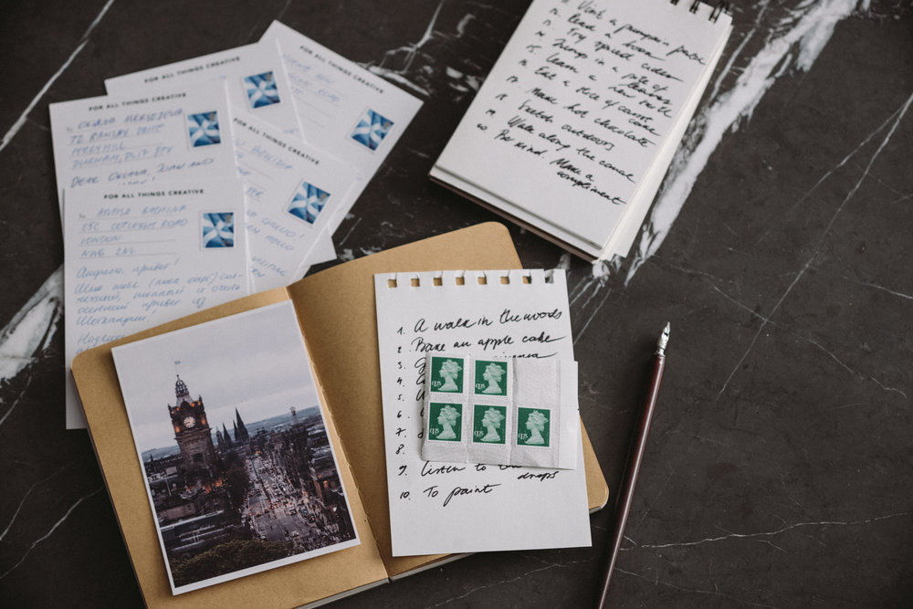 This month we will be sending many postcards by post.