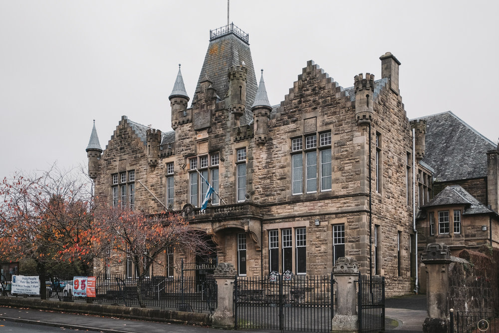 Victoria Halls in Scottish Baronial style