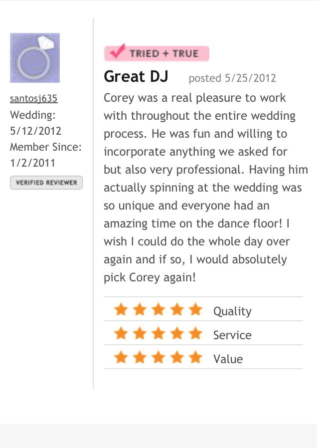 DJ Corey Young Wedding Reviews // The Aldrich Mansion Warwick RI