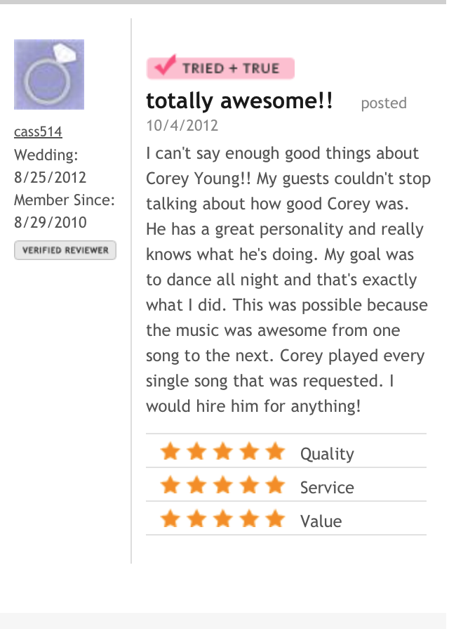 DJ Corey Young Wedding Reviews // The Rhode Island Country Club Barrington RI