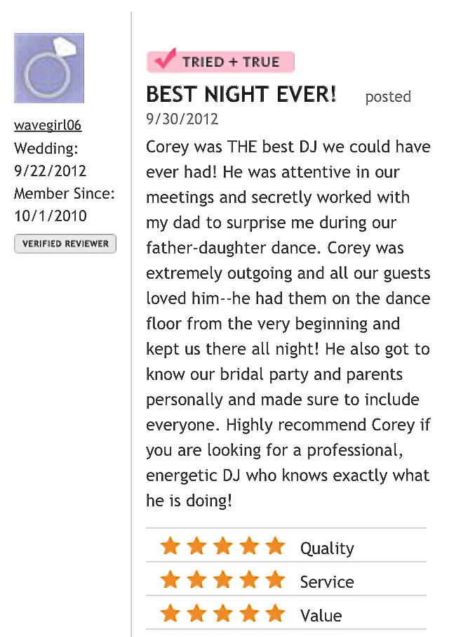 DJ Corey Young Wedding Review // Wanumetonomy Golf & Country Club Middletown RI