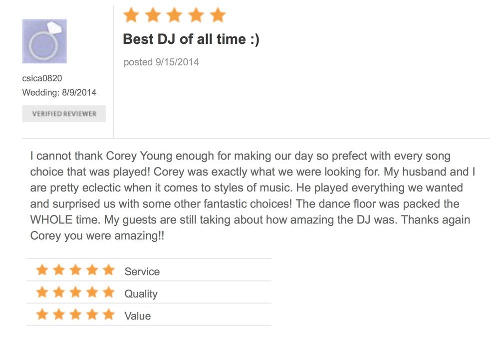 DJ Corey Young Wedding Reviews // Mount Hope Farm Bristol RI