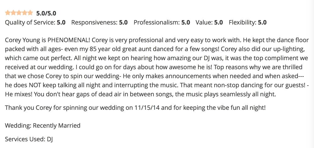 DJ Corey Young Wedding Reviews // Black Rock Country Club Hingham MA