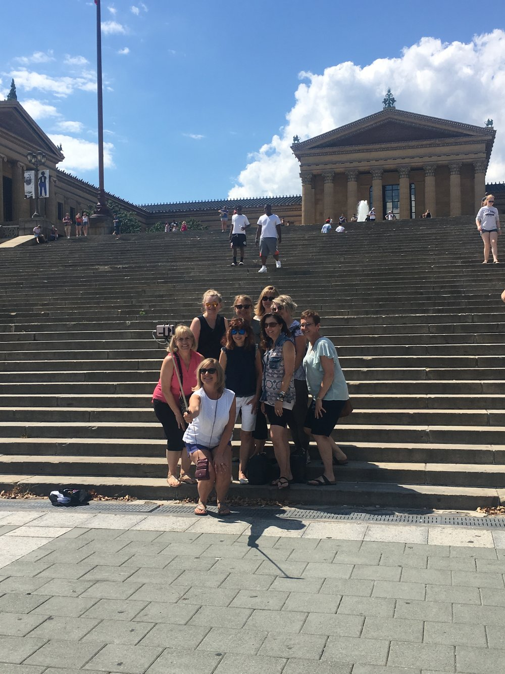 Choir taking selfies at the Rocky Stairs!