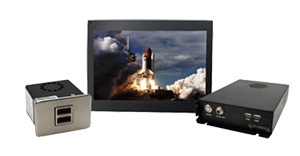 Performance IFE Package  The powerful IFE bundle designed to fit in most aircraft. Wireless video, music, and moving map. Includes the Dual USB Charger.   14″ Widescreen HD LCD  (FD141CV)   JetJukeBox  (FD800JBOX Ver RJ45)   Dual USB Charger  (FDPWRU28)