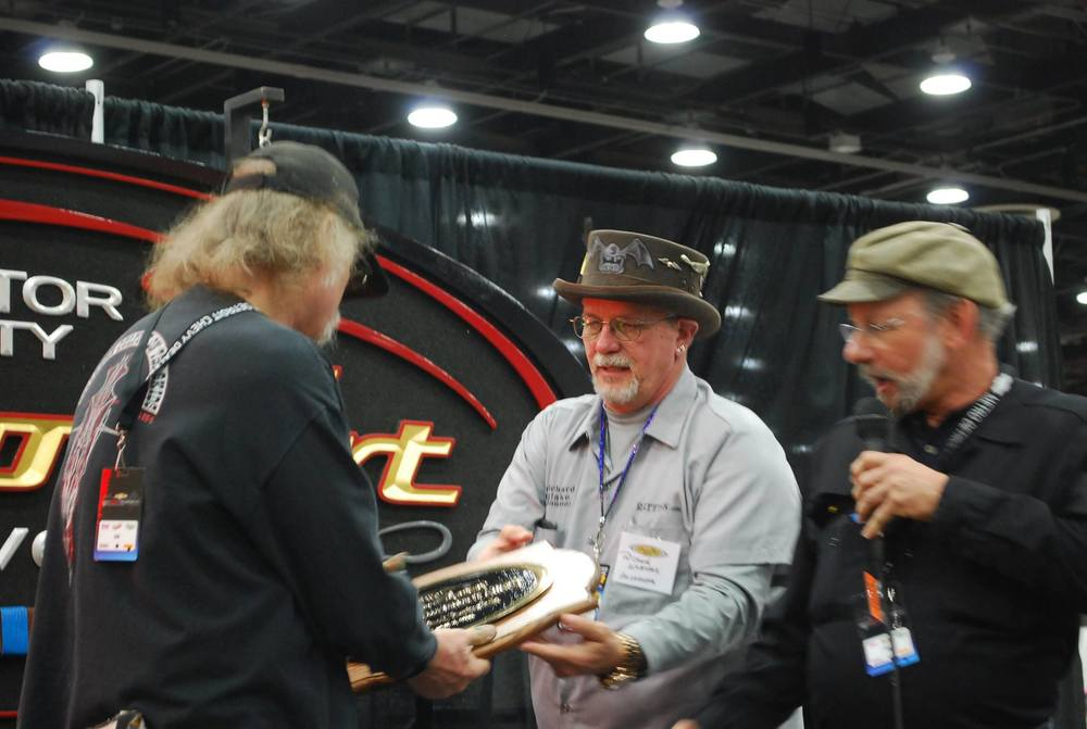 Tom VanNortwick receiving the Lifetime Achievement Award at the 2015 Detroit Autorama