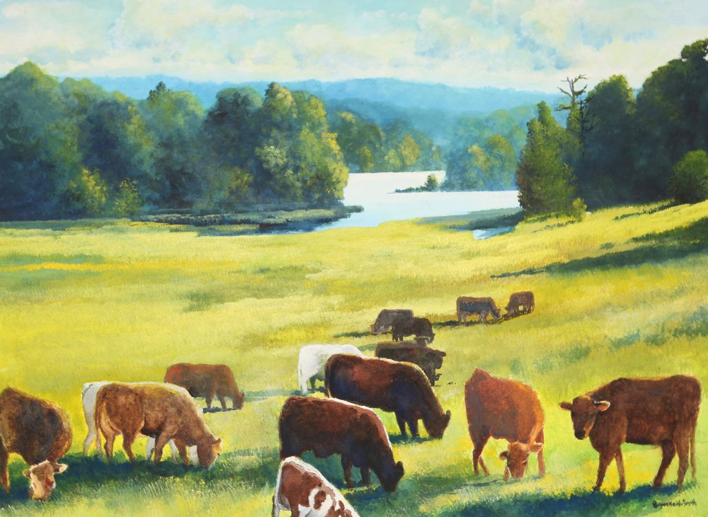 "The Herd, Heading to the River 28 1/2"" W x 20 3/4"" H $4000."