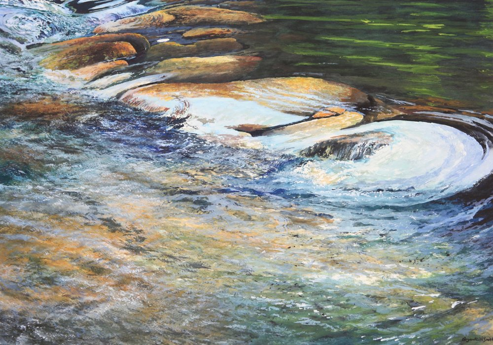 "Stepping Stones 45 1/2"" W x 36"" H   Framed $6350."