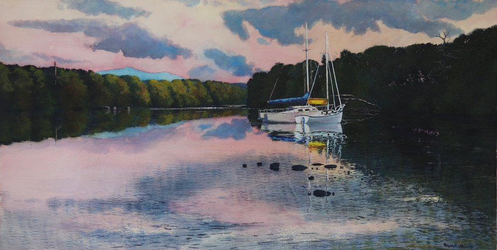 "Lake Reflections 47"" W x 37 1/2"" H   Framed $5350."
