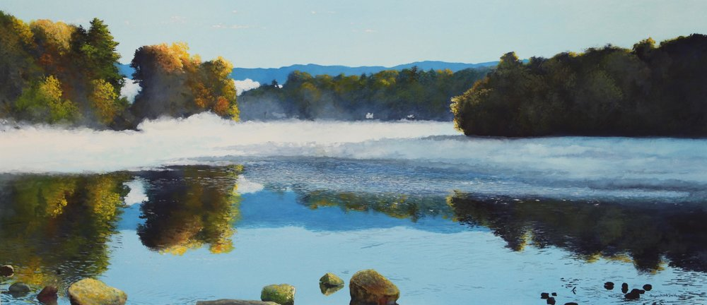 "Morning Fog II 50"" W x 29 1/4"" H $6200."