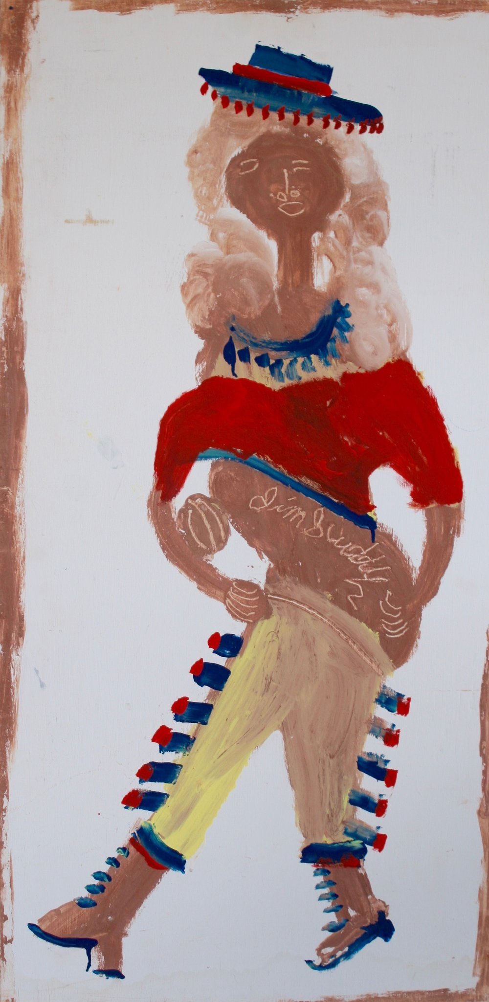 "Indian Woman with Football 24"" W x 48"" H Unframed $1400."