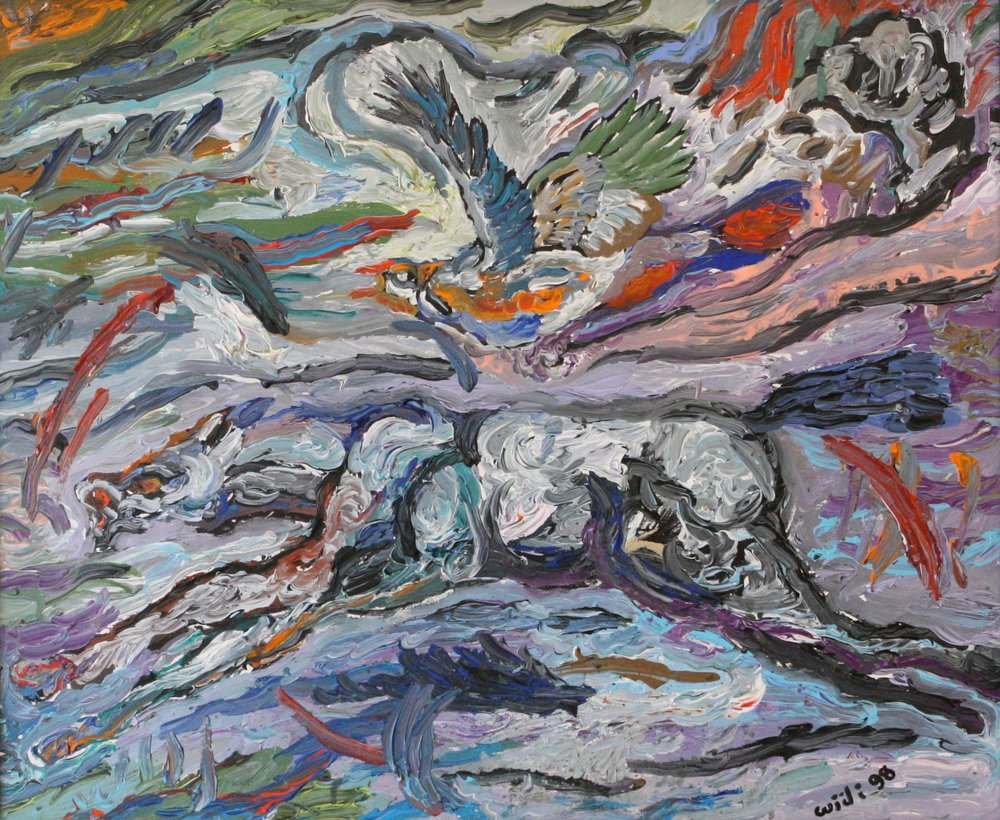 """Horse and Hawk 28"""" W x 24"""" H Framed $1165."""