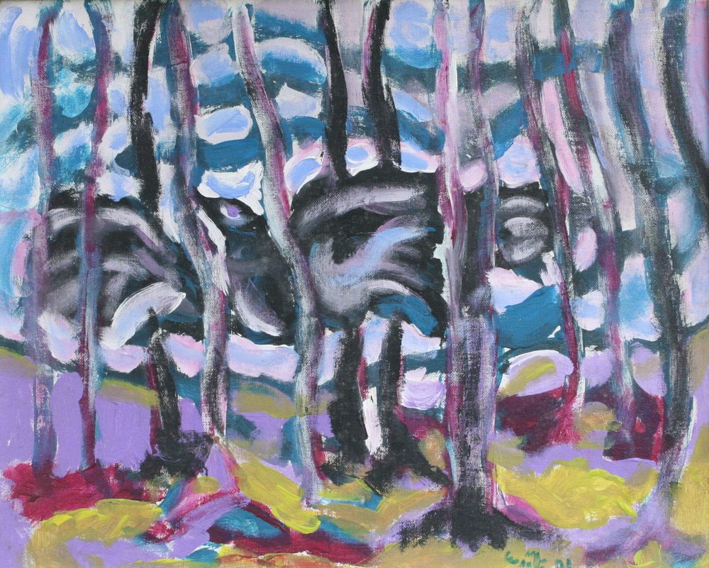 """Crow in the Woods 24"""" W x 20"""" H Framed $800."""