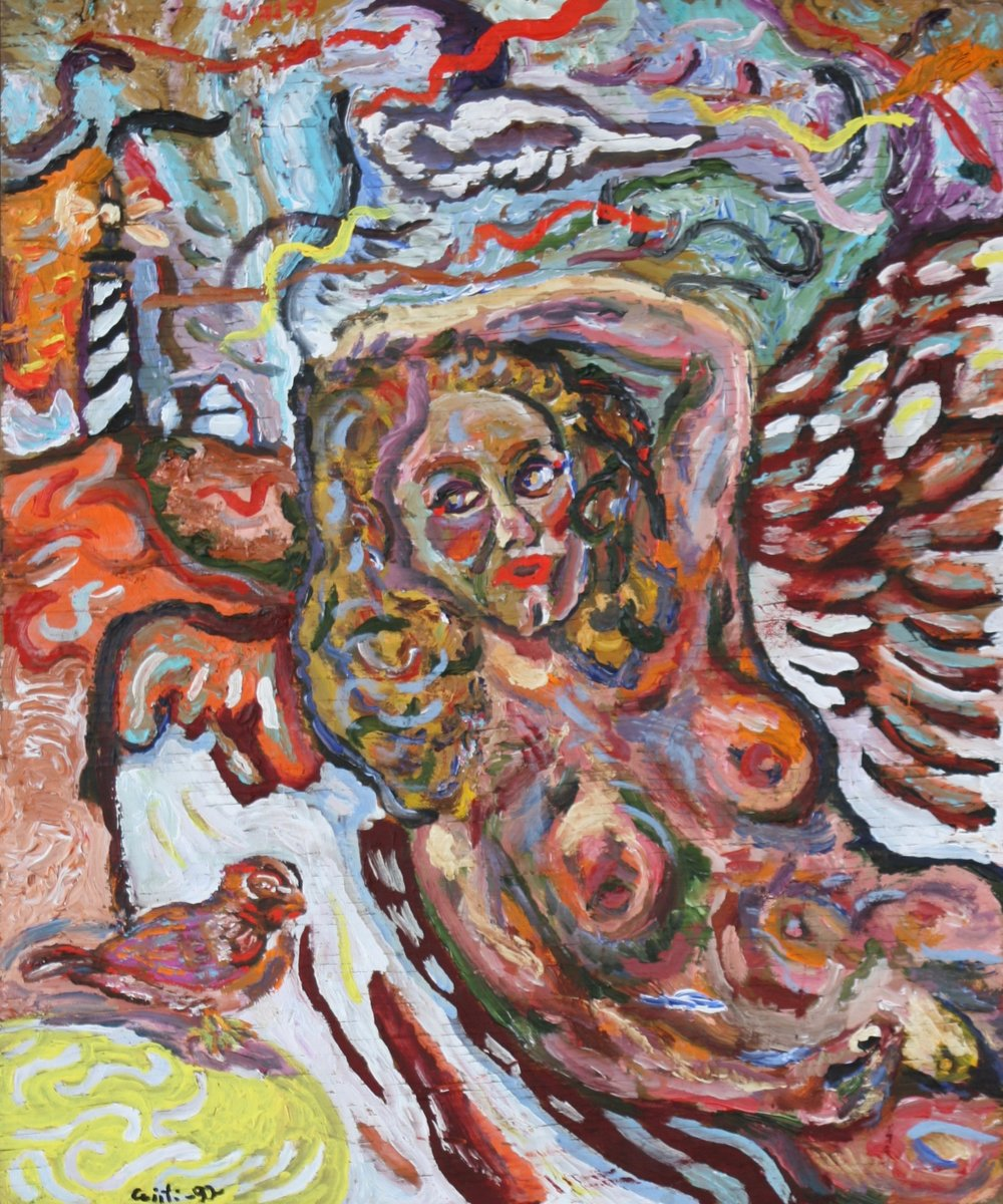 "Beached Angel with Robin 19"" W x 23"" H Unframed $750."
