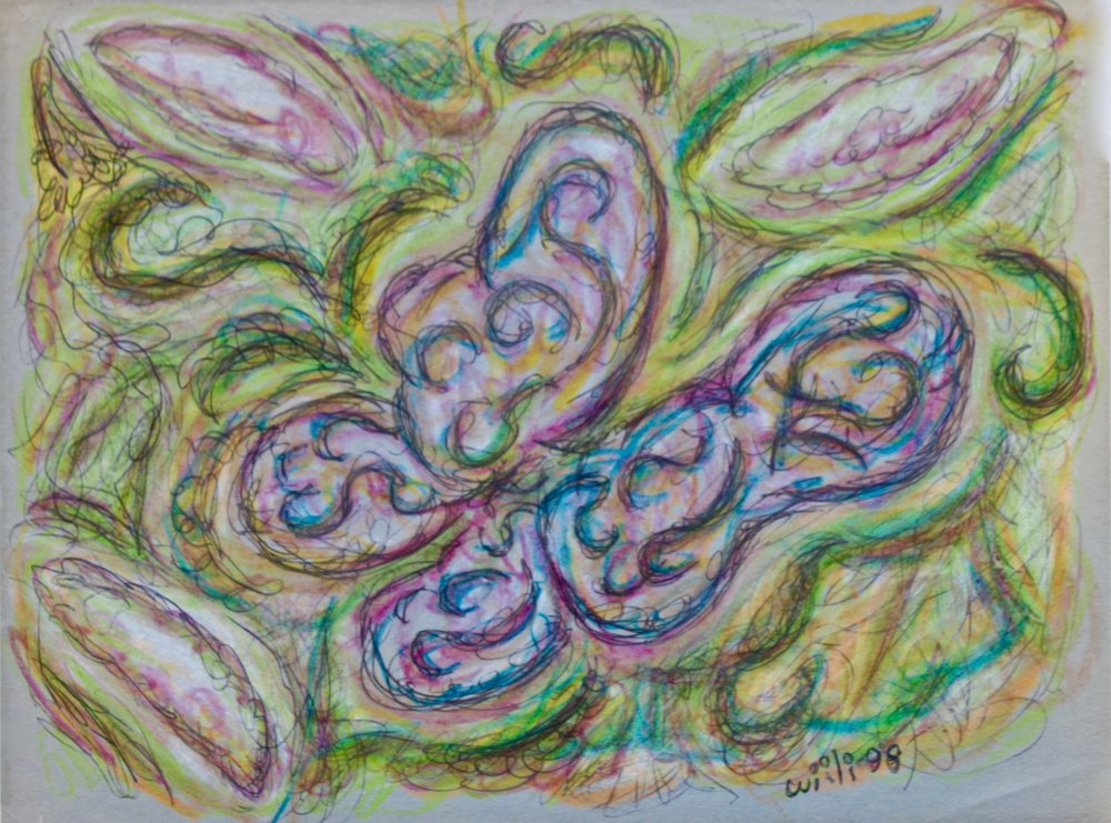 """Butterfly in Ink and Pastel 12"""" W x 9"""" H Unframed $125."""