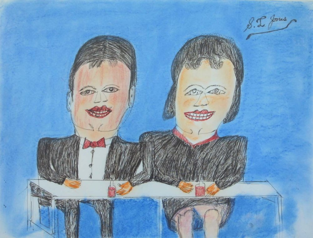 "Couple at Table 31 1/4"" W x 25 1/2"" H Framed $600."