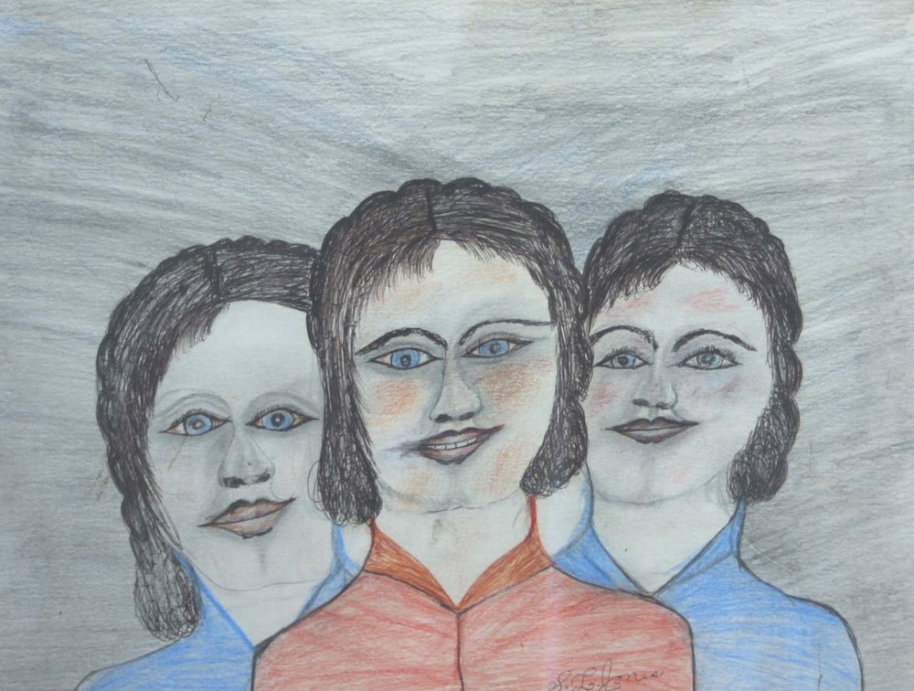 "Three Ladies 21"" W x 24"" H Framed $1175."