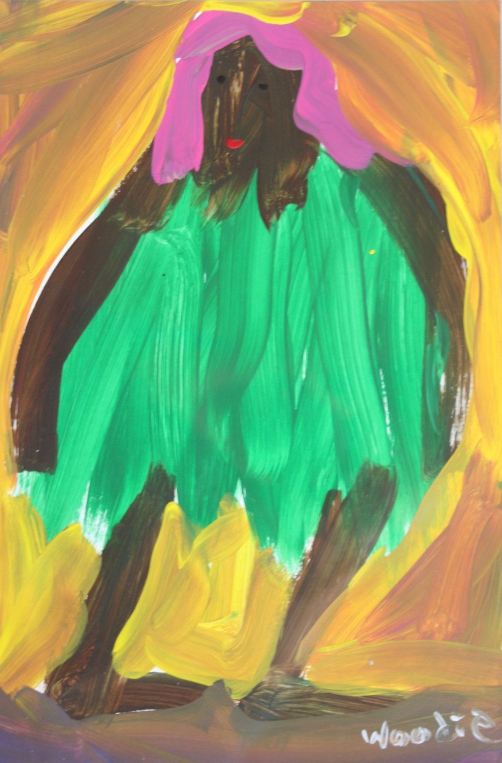 "Black Lady in Green Dress 19 3/4"" W x 23 1/2"" H Framed $625."