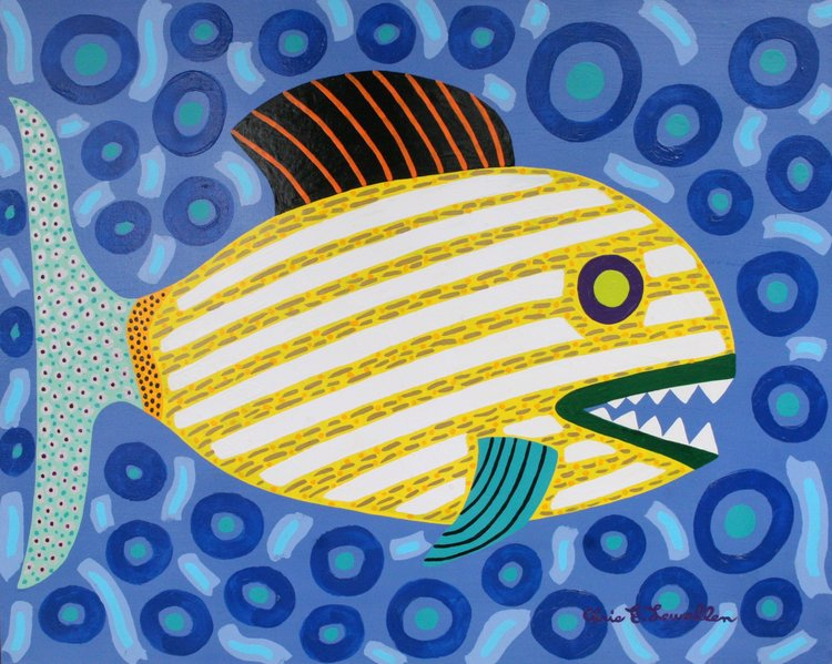 "Striped Yellow Fish Chris Lewallen 30"" W x 24"" H Unframed $350."
