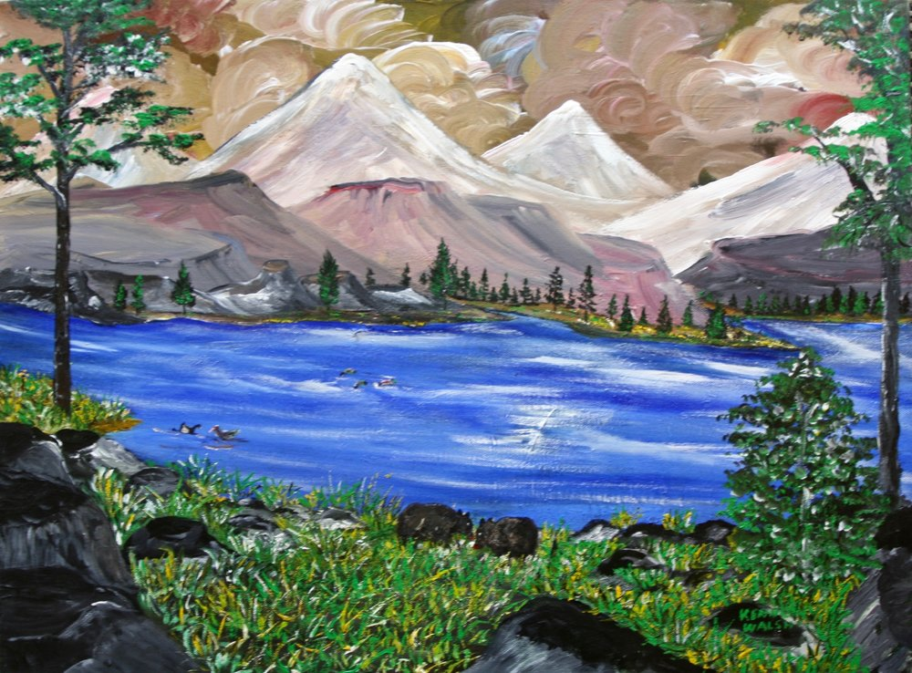 "Ducks In the Blue Lake 24"" W x 18"" H Unframed $50."