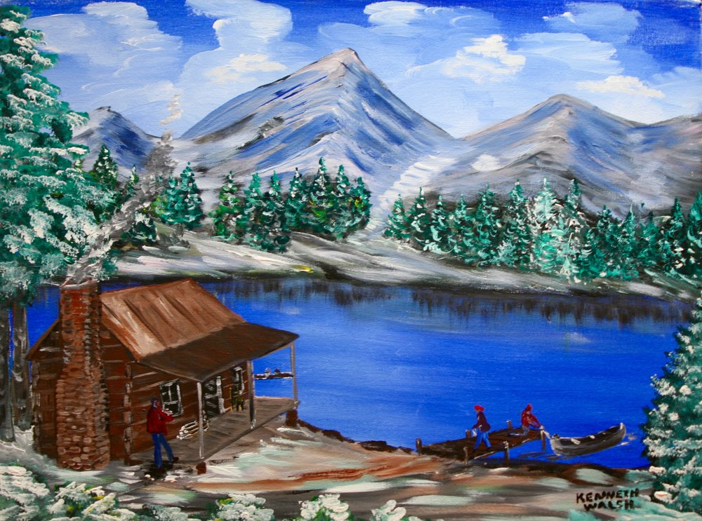 "Blue Lake 24"" W x 18"" H Unframed $50."