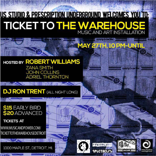 'Ticket To The Warehouse - Music & Art Installation' (Detroit Edition) Flyer