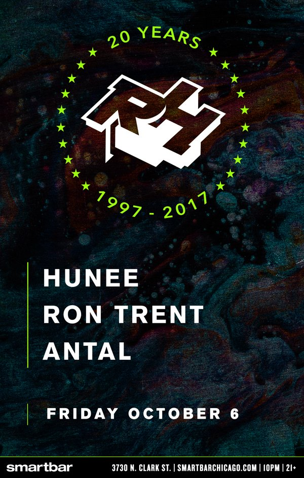 20 Years of Rush Hour With Hunee / Ron Trent / Antal Flyer