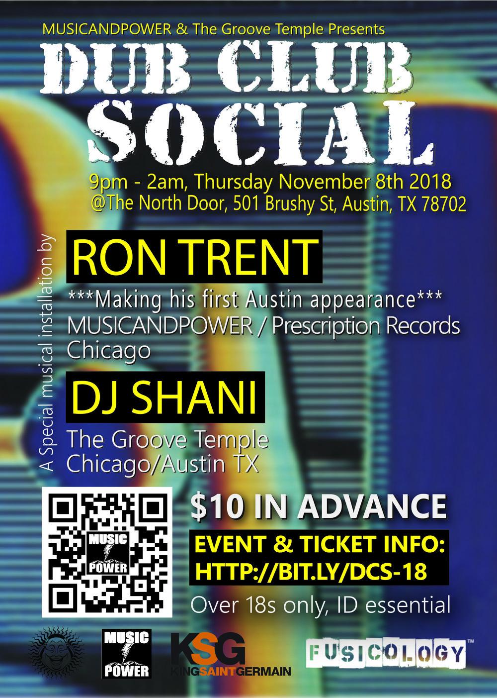 Dub Club Social Event Flyer feat Ron Trent DJ Shani North Door Austin Texas Nov 8th 2018
