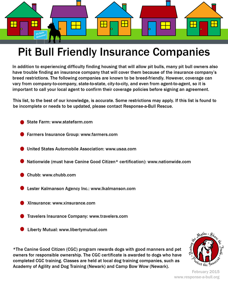 Pit Bull Friendly Insurance Companies — Rescue for the Misunderstood