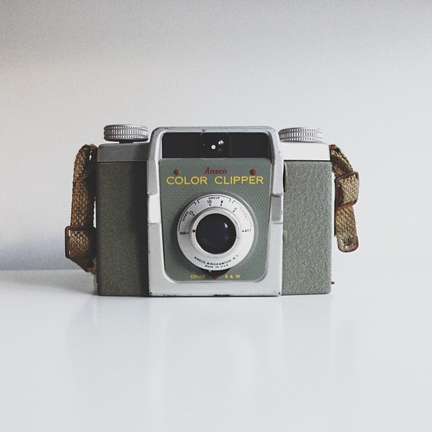 My uncle had given me a bag of old cameras and this one was the oldest - Ansco Color Clipper #vintagecamera #vscocam