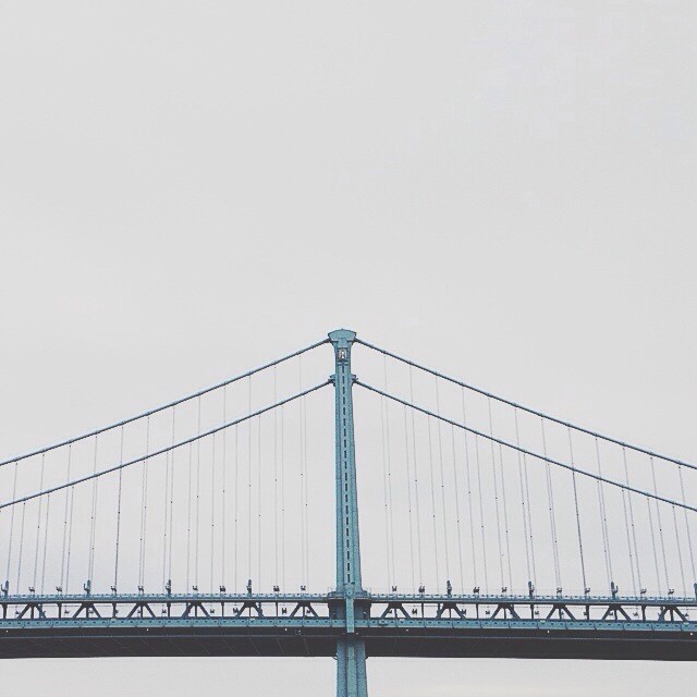 The only thing that is blue on this gloomy day! #vscocam (at Benjamin Franklin Bridge)