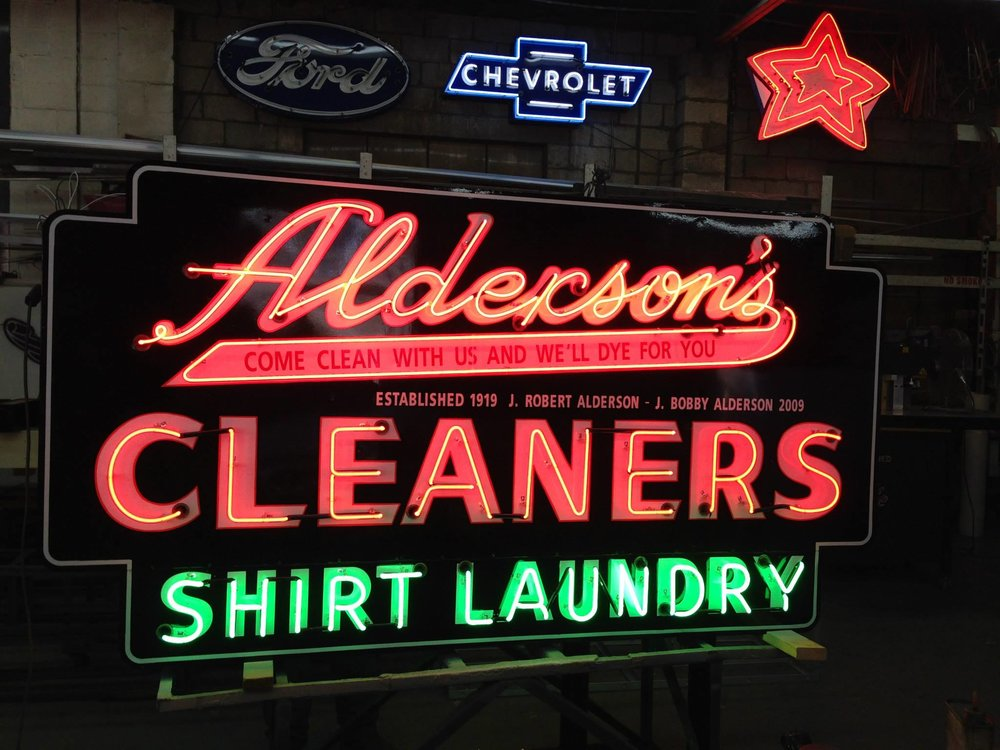 Alderson's Cleaners sign fully restored to the original design. Credit: Columbia Neon