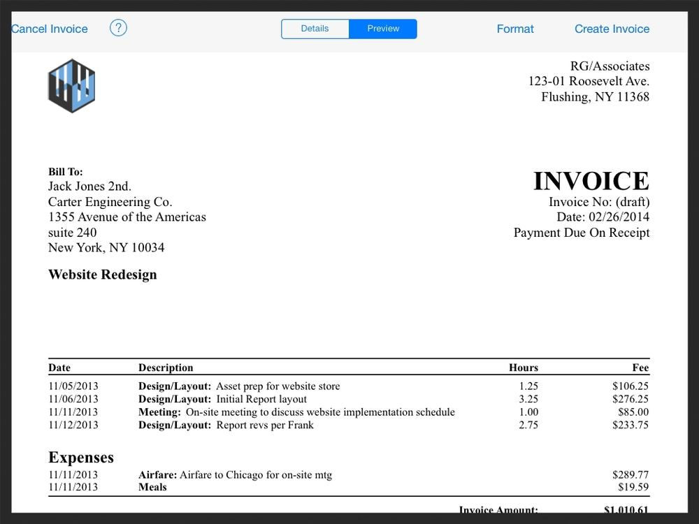 Gallery Accounting By Workbox - Emailed invoice