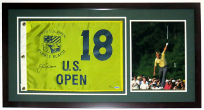 Pebble Beach U.S. Open Pin Flag - Framed with 11x14 Photo of Jack Nicklaus