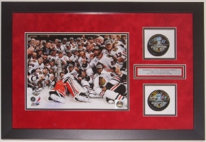 Dual Hockey Pucks with Photograph Custom Shadow Box