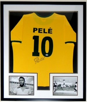 Pele Signed Team Brazil Jersey - PSA DNA COA Authenticated - Professionally Framed & 2 8x10 Photo 32x42