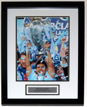 Sergio Aguero Signed Manchester City 11x14 Photo - PSA DNA COA Authenticated - Professionally Framed