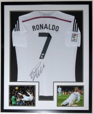 Cristiano Ronaldo Signed Real Madrid Jersey - PSA DNA COA Authenticated - Professionally Framed & 2 8x10 Photo 32x42