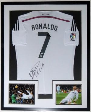 Cristiano Ronaldo Signed Real Madrid Jersey - PSA DNA COA Authenticated - Professionally Framed & 2 8x10 Photo 32x42