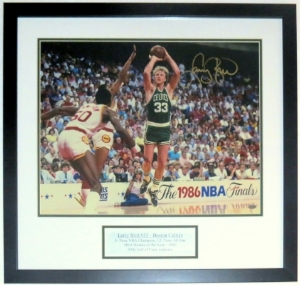 Larry Bird Signed Boston Celtics 16x20 Photo - Steiner Sports COA Authenticated - Custom Framed & Plate